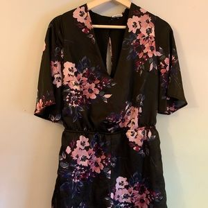 Charlotte Russe floral print silky romper size s